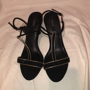 Zara black and gold sandals